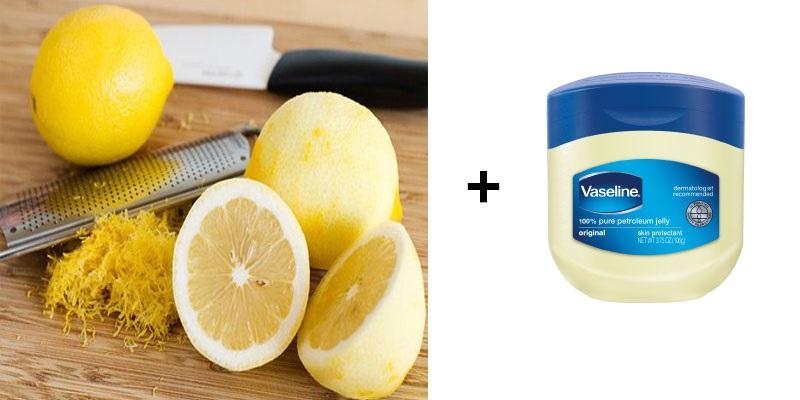 Dùng vỏ chanh + kem dưỡng Vaselin